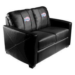 Dreamseat Inc. - Los Angeles Clippers NBA Xcalibur Leather Loveseat - Check out this incredible Loveseat. It's the ultimate in modern styled home leather furniture, and it's one of the coolest things we've ever seen. This is unbelievably comfortable - once you're in it, you won't want to get up. Features a zip-in-zip-out logo panel embroidered with 70,000 stitches. Converts from a solid color to custom-logo furniture in seconds - perfect for a shared or multi-purpose room. Root for several teams? Simply swap the panels out when the seasons change. This is a true statement piece that is perfect for your Man Cave, Game Room, basement or garage.