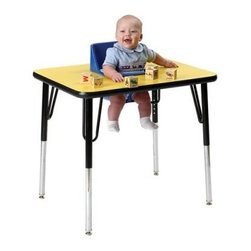 1 Seat Toddler Activity Table - The 1 Seat Toddler Activity Table is like a corner office with a window for your toddler. This big table features a center-mounted seat that gives them all the room they need for playing eating or making those executive decisions. The molded polyethylene seat has a belt for safety and can be removed for easy cleaning. The tabletop is a laminated wood with high-impact molding set on heavy-duty metal legs that can be adjusted from a height of 19 to 27 inches. Take a look at the range of colors that are available for both the chair and tabletops and get the one that's right for your setting. This seat can accommodate most youngsters from 5 to 24 months of age.About Toddler TablesAlmost 30 years ago Toddler Tables founder and church minister Glenn Holland got to work in his garage to fix a problem that he saw every Sunday. He noticed that parents with young children spent more time holding their children than they did being involved in the congregation. With an idea in mind he set out using the best materials and production methods available to help care for the children and assist the parents in his congregation. Holland's hard work paid off when he developed the first Toddler Table. With the seat mounted into the top of the table he was able to provide caregivers with more flexibility in their jobs and gave the children a safe and comfortable way to interact with other children. Before long Holland's new product began making waves in the child care industry and what was once being built in a garage is now produced in the Toddler Tables manufacturing facility in Raleigh North Carolina. Toddler Tables has become a symbol of commitment to the child care industry and even though they've grown beyond Holland's garage their attention to safety and quality are still available to every preschool Sunday school and daycare that cares just as much about the needs of the children they serve.
