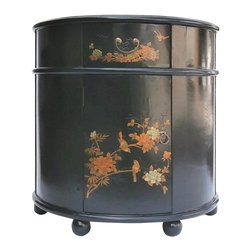 Golden Lotus - Black Half Moon Chinese Leather Gold Flower Bird Side Cabinet - Look at this Chinese half moon shape cabinet which is made of compressed wood.  Especially, the outside of cabinet is wrapped by artificial leather, and it also comes with flower & birds painting around the cabinet.  It should be perfect to put at entrance hallway of your house.