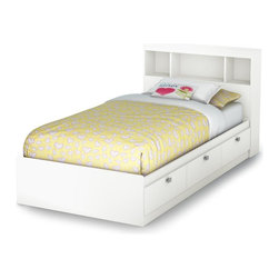 South Shore - Sparkling Mates Bed w Headboard in Pure White - Choose Size: TwinManufactured from eco-friendly, EPP-compliant laminated particle boardcarrying the Forest Stewardship Council (FSC) certification. Bed foam and sheets not included. Box spring not required. 3 Practical drawers, can be place on either side of bed. Secure Smart Glides drawer slides with lifetime warranty. Satin zinc-finished metal handles . Manufactured from laminated particle board. Weight limit: 250 lbs.. 5-Year manufacturer's warranty. Assembly required. Inside drawer dimensions: 22.5 in. W x 17.25 in. L x 4.25 in. H. Headboard: 41 in. L x 8.5 in. W x 36.25 in. H. Mates bed: 76 in. L x 40.25 in. W x 13.75 in. HThis contemporary mate's bed features practical storage with 3 spacious drawers.