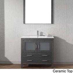 Virtu USA Dior 36 inch Single Sink Vanity Set in Zebra Grey -