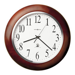 Howard Miller - Howard Miller Murrow Accuwave DS Wall Clock - Howard Miller - Wall Clocks - 625259 - This contemporary wall clock is as accurate a clock as you'll find with Accuwave DS radio controlled updates for to-the-second consistency. An attractive Windsor cherry hardwood frame is given further emphasis by a satin silver dial bezel to make the Murrow wall clock a natural for home or office.