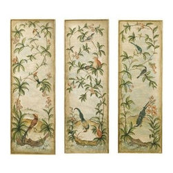 Uttermost - Uttermost 32038 Aviary Vintage Art Panels Set of 3 - This hand painted artwork on canvas is applied to a wood back surrounded by a wood frame with hand applied gold leaf. Due to the handcrafted nature of this artwork, each piece may have subtle differences.