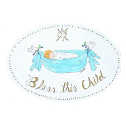 Stupell Industries - Bless This Child with Cross Boy's Oval Wall Plaque - Made in USA. MDF Fiberboard. Hand finished and packed. Approx. 11 in. W x 15 in. L. 0.5 in. ThickThe Kids Room by Stupell features exceptional handcrafted wall decor for children of all ages.  Using original art designed by in-house artists, all pieces feature hand painted and grooved borders as well as colorful grosgrain ribbon for hanging.  Made in the USA, everything found in The Kids Room by Stupell exudes extraordinary detail with crisp vibrant color. Whether you are looking for one piece to match an existing room's theme, or looking for a series to bring the kid's room to life, you will most definitely find what you are looking for in The Kids Room by Stupell.
