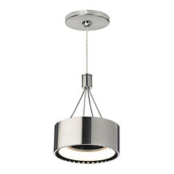 "Tech Lighting - Contemporary Tech FreeJack Corum 6"" Wide LED Satin Nickel Mini-Pendant - Automotive-inspired modern pendant. Satin nickel finish. Metal construction. Round satin nickel finish canopy. Low-voltage design. Includes one 7.2 watt LED. Light output is 550 lumens. Comparable to a 40 watt incandescent bulb. 3000K warm color temperature. Includes 6' cuttable cable. 6"" wide. 5"" high. Hang weight is 1 1/4 lbs.   Automotive-inspired modern pendant.  Satin nickel finish.  Metal construction.  Round satin nickel finish canopy.  Low-voltage design.  Includes one 7.2 watt LED.  Light output is 550 lumens.  Comparable to a 40 watt incandescent bulb.  3000K warm color temperature.  Includes 6' cuttable cable.  6"" wide.  5"" high.  Hang weight is 1 1/4 lbs."