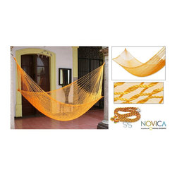 Novica - Hand-woven 'Orange Sonata' Hammock (Mexico) - Offering the promise of sweet relaxation,sunny orange hammock will liven up your garden,patio,or deck Worldstock furniture is ample and gently cradles the bodyHand-woven by Maya Artist of the Yucatan using centuries old techniques