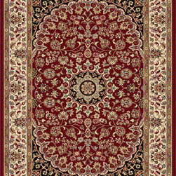 Tayse Rugs - Elegance Red, Black and Blue Rectangular: 5 Ft. x 7 Ft. Rug - - The detailed oriental medallion design of this area rug make a statement of elegance to any room. Soft polypropylene fibers make it soft, warm, and easy to clean. Rich hues of red, gold, ivory and black. Vacuum and spot clean.  - Square Footage: 35  - Pattern: Oriental  - Pile Height: 0.39-Inch Tayse Rugs - 5390  Red  5x7