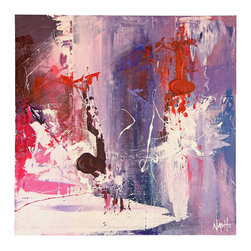 """'Blizzard' Original Painting - Stark bursts of mauve and plum interspersed with ivory and cherry come together in this wildly passionate piece. Pick a room that needs a little """"oomph"""" and let the intensity of this painting work its magic."""