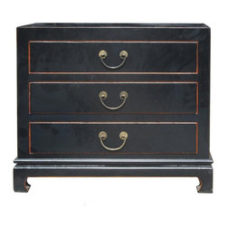 Golden Lotus - Black Color Solid Wood Claw Leg 3 Drawers Small Dresser Side Table - This is simple and neat design 3 drawers dresser. It is made of solid elm wood and comes with nice bronze hardware.