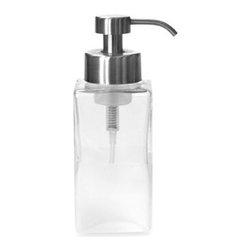 Harman, Inc. - Foaming Soap Dispenser in Frost Glass - Glass dispenser turns any liquid hand soap into foam soap. Pump is all-metal.