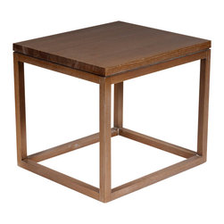 Reclamation Company - Earl Side Table, Oak, Clear Lacquer - The Earl collection is know as the Parson.  The Parson was designed by Jean-Michael Frank while at the Paris School of Arts and Design.  He challenged his students to design a table so that it would retain it's integrity wheather sheathed in gold leaf, mica, parchment, split straw, painted burlap, or even left robustly unvarnished.  Their striking design allows great use as modern or contemporary furniture.  Because this is a unique handmade piece, please allow a 4 to 6 week lead time. Note: Please use the swatch image for an indication of the wood and finish options.