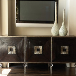 Artisan Media Cabinet - Shipping is included in the price! The Artisan Media Cabinet is solid hand carved wood with hand forged iron frame and details. There are two adjustable shelves behind each of the three doors. Open slat system back allows easy access to component wiring.