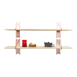 "Souda - Strut Shelving System, Natural Maple, Copper, 48"" - Whether it's red & maple for poppy & fun; black & blackened for dark & chic; or brass & whitened for pristine & timeless, the Strut Shelving System paints the picture as you see it. Modern, structural, and endlessly customizable, the Strut Shelving System brings a polished simplicity to residential and commercial interiors alike. Available in 48"", 84"", and custom lengths."