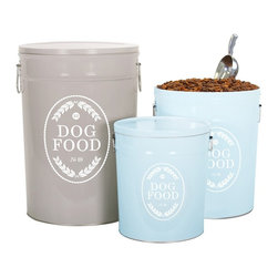Swedish Farmhouse Dog Food Storage Canister - I'm currently keeping the dog food in the original bag, but these canisters would help make better use of my space and make the kitchen look great.
