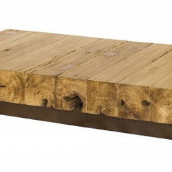 Retalho Coffee Table - Reclaimed Wood - We just love placing metal and wood together! Here shown in natural Pequi wood and weathered metal finish, the Retalho Coffee Table is made of solid blocks of reclaimed wood on a powder coated steel base. This cocktail table can be made to order using different species of salvaged wood and in custom dimensions and shapes. Rectangular or square, high or low, our team will always look for and use what one may perceive as the wood imperfections to bring uniqueness to the piece. This table will catch everybody's eyes!