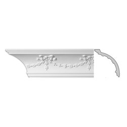 Renovators Supply - Cornice White Urethane Londonderry - Cornice - Ornate | 11358 - Cornices: Made of virtually indestructible high-density urethane our cornice is cast from steel molds guaranteeing the highest quality on the market. High-precision steel molds provide a higher quality pattern consistency, design clarity and overall strength and durability. Lightweight they are easily installed with no special skills. Unlike plaster or wood urethane is resistant to cracking, warping or peeling.  Factory-primed our cornice is ready for finishing.  Measures 5 1/2 inch H x 94 inch L.