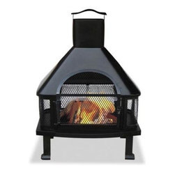 "Blue Rhino - Black Firehouse With Chimney - Uniflame WAF1013C Black Firehouse with Chimney.  This well constructed and highly functional firehouse brings the warmth and comfort of a fireplace to any patio, deck, or poolside. The safety and versatility of this fully grate enclosed allows fires to burn away with peace of mind in virtually any application. Constructed from cast iron featuring a large chimney that controls exhaust. Firehouse also features a side-out cooking grill and simple assembly that make this a must have for any home. 25""W x 45.3""H x 20.5""D"