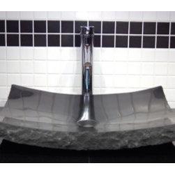 Asian Style Bathroom - Eden Bath EB_S014BK-P Stone Vessel Large Black Granite Zen Sink