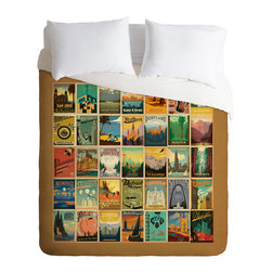 DENY Designs - DENY Designs Anderson Design Group City Pattern Border Duvet Cover - Lightweight - Turn your basic, boring down comforter into the super stylish focal point of your bedroom. Our Lightweight Duvet is made from an ultra soft, lightweight woven polyester, ivory-colored top with a 100% polyester, ivory-colored bottom. They include a hidden zipper with interior corner ties to secure your comforter. It is comfy, fade-resistant, machine washable and custom printed for each and every customer. If you're looking for a heavier duvet option, be sure to check out our Luxe Duvets!