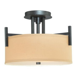 Dolan Designs - Dolan Designs 2945 2 Light Up / Down Light Semi-Flush Ceiling Fixture from the T - Dolan Designs 2945 Tecido 2 Light Up / Down Light Semi-Flush Ceiling FixtureWith a retro-modern style reminiscent of the 1960's, this 2 Light Semi-Flush Ceiling Fixture features simple square arms and timeless drum shaped Beige Fabric Shades. This unique piece will complement any room with its retro style.Tecido is inspired by the Chic styles of the 1960's and will bring a retro flair to your home with its simple square arms and timeless drum shaped Beige Fabric Shades. Dolan Designs 2945 Features: