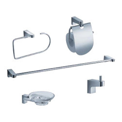 Fresca - Fresca Generoso 5-Piece Bathroom Accessory Set - Chrome - Featuring clean lines and a minimal design, the stylish Generoso five piece accessory set from Fresca will add style and functionality to any bathroom. Made from heavy duty brass with a chrome finish, this bathroom accessory set comes complete with the towel bar, soap dish, toilet paper holder, towel ring and the robe hook. Generoso Bathroom Accessory Set Details   Triple chrome finish Made from heavy duty brass Towel bar dimensions: W 23.25 x D 3 x H 1.5 Soap dish dimensions: W 4.25 x D 5 x H 1.5 Toilet paper holder dimensions: W 5.75 x D 3.25 x H 6.25 Towel ring dimensions: W 8.5 x D 3 x H 4.5 Robe hook dimensions: W 1 x D 2 x H 2
