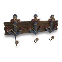 Zeckos - Wood and Metal Nautical Anchor 3 Hook Wall Rack - This decorative wall hook features a wooden slat adorned with a trio of distressed finish red and blue nautical anchors. Each anchor holds a metal hook with a wooden ball on the end, perfect for hanging robes and towels in a bathroom, belts and purses in a bedroom, or keys and leashes in an entryway. It measures 19 1/2 inches long, 9 1/2 inches high and 3 1/4 inches deep. It easily hangs using two nails or screws from the metal loop hangers on the back.