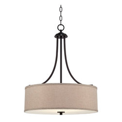"Lamps Plus - Traditional La Pointe 19 1/2"" Wide Oatmeal Linen Shade Pendant Light - This timeless pendant light is great for any style of decor. An oatmeal linen shade is paired with an oil-rubbed bronze finish and an acrylic diffuser so you can give your home warm even illumination. Perfect for bedrooms living rooms and more. Oil-rubbed bronze finish. Oatmeal linen shade. Includes 6 feet chain and 12 feet wire. Three maximum 60 watt or equivalent bulbs (not included). 19 1/2"" wide. 25 3/4"" high. Canopy is 5 1/8"" wide. Hang weight is 10 lbs.   Oatmeal linen shade.  Oil-rubbed bronze finish.  Includes 6 feet chain and 12 feet wire.  Three maximum 60 watt or equivalent bulbs (not included).  19 1/2"" wide.  25 3/4"" high.  Canopy is 5 1/8"" wide.   Hang weight is 10 lbs."