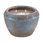 Zodax - Zodax Provence Bleu Cement Three Wick Candle Pot - Zodax - Candle Holders / Lanterns - IG2062 - Provence Bleu Cement Three Wick Candle Pot