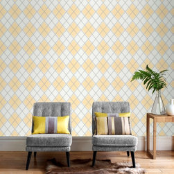 Graham & Brown - Argyle Wallpaper - A stunning diamond geometric wallpaper design which is textured in order to add even more depth and warmth to yur room, this ochre design will add lightness and brightness to any room and bring a touch of Argyle to your walls.