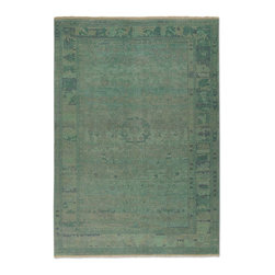 Uttermost - Traditional Ismir 6'x9' Rectangle Pale Blue Green Area Rug - The Ismir area rug Collection offers an affordable assortment of Traditional stylings. Ismir features a blend of natural Pale Blue Green color. Hand Knotted of Wool the Ismir Collection is an intriguing compliment to any decor.