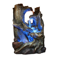 Alpine Fountains - Tree Trunks Fountain w LED Lights - Made of Fiberglass. 1 Year Limited Warranty. Assembly Required. Overall Dimensions: 10 in. L x 7 in. W x 14 in. H (6.05 lbs)Our newest line of fiberglass fountains have the look of natural stone with the strength and durability of fiberglass. Multiple streams of water flow creates a relaxing and meditative atmosphere. They can be placed indoors or out.