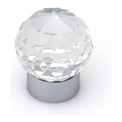 Topex - Swarovski Crystal Round Knob by Topex, Chrome - SWAROVSKI CRYSTAL COLLECTION