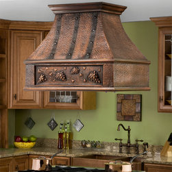 "36"" Tuscan Series Copper Island Range Hood - Grape Motif - A great addition to any kitchen, the 36"" Tuscan Solid Copper Island Range Hood features a grape vine design."
