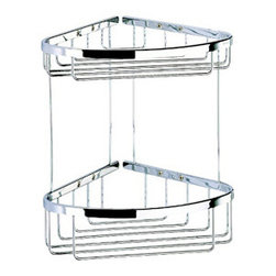 Geesa - 2 Tier Chrome Corner Shower Basket - Double tier corner shower basket made out of solid brass in a polished chrome finish. Shower basket comes with screws and instructions for easy mounting. Made and designed by luxury bath accessories brand Geesa.