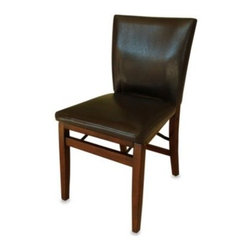 Kinfine Usa Inc. - Harper Folding Chair - Perfect for when you're entertaining, the Harper Folding Chair has a comfortable seat and back of soft faux leather and a rich wood stain in dark brown. Simple and elegant, it will blend seamlessly with any decor.