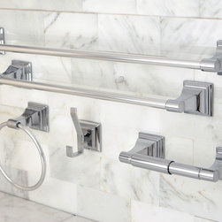 None - Chrome 5-piece Bathroom Accessory Set - Update your washroom with this silver bathroom accessory set. Durably constructed to last for many years, this set includes two towel bars, a towel ring, and a robe hook, and its polished chrome finish will give your bathroom an elegant look and feel.