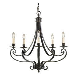 Murray Feiss - Murray Feiss Cervantes Transitional Chandelier X-RBL5/9291F - Traditional style and subtle antique flair has been complimented by a rich finish on this Murray Feiss chandelier. From the Cervantes Collection, it features five candelabra style lights for added traditional appeal. The rich tones of the Liberty Bronze finish help to pull the look together.