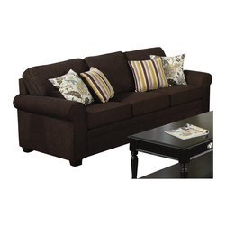 Coaster - Coaster Rosalie Stationary Sofa with Accent Pillows in Dark Brown - Coaster - Sofas - 504241 - Relax and sit in luxury with this casual yet attractive sofa. It features a dark, dual-colored woven fabric soft to the touch and perfect for lounging around. Giving it a more sophisticated feel are two striped and two floral accent pillows giving it a punch of personality and color. This sofa is beautifully crafted with pocket coil spring seating and clean poly filled cushions for a sense of quality and class. Solid wood legs and a rolled arms finish the sofa and give it that welcoming, traditional feel.