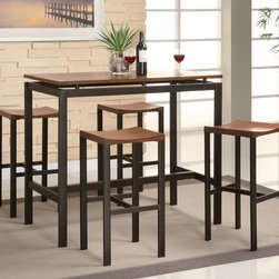 5 PC Birch Black Wood Counter Height Dining Set Table Stools 150097 -