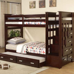 Youth, Children Bedroom Collections - ACM- 10170 Espresso Finish Twin / Twin Bunk Bed With Trundle And Full Step Ladder And Additional Storage