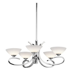 Kichler Lighting - Kichler Lighting Brooklands 5-Light Modern / Contemporary Chandelier X-HC12034 - Like the flourish you give to your signature, this 5 light halogen chandelier from the Brooklands&trade:collection will bring personal style to your space. A sleek metal design, a Polished Chrome finish, and flawless Satin Etched Cased Opal Glass combine to create a delicate statement for any space.
