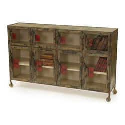Locker Room Cabinet - Large capacity locker look-alike's hold book bags, soccer cleats, school books and more on roomy shelves with mesh doors. Hand painted iron on casters for convenience.