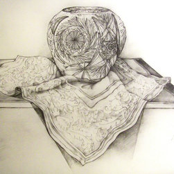 """""""Still Life With Crystal Bowl"""" Artwork - This incredibly detailed pencil drawing captures a moment in time. Signed by the artist, Noe Badillo, it makes a lovely statement in your home and an important addition to your collection."""
