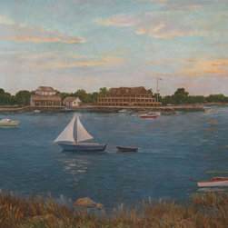 Handpainted scene of Greenwich, CT - Handpainted scenic for a country club in Greenwich, CT showing the club and local countryside in the early 20th century.