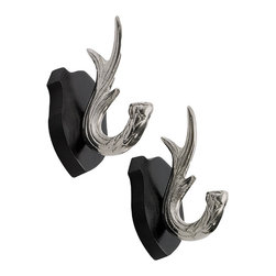 GO Home Ltd - GO Home Ltd Kensington Antler Hooks, Set of 2 - Decor gone wild. Country aesthetics are the inspiration for this set of hooks created by GO Home. Formed in the image of brass deer antlers, they're finished in a majestic polished nickel that makes them silvered, shiny, and elegant. Mounted on a striking black shield, their sturdy hooks hold layers, scarves, and other accessories.Includes two hooksWood / nickel-plated brassKensington collection
