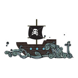 Pirate Boat Decals - Every pirate crew needs a ship. This one is large and in charge and would make any boy swoon.