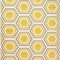 Castleberry Area Rug, Gold/Gray - The colors in this honeycomb rug are fabulous. It will brighten any room and make it more lively.
