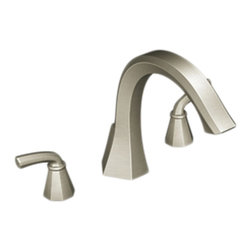 """Moen - Moen TS243BN Brushed Nickel Roman Tub Trim 8""""-16"""" Two Lever Handles, ADA - The Felicity series features bold, sweeping horizontal lines and geometric forms, giving it a modern feel that enhances any refined decorating style."""