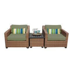 TKC - Tuscan 3 Piece Outdoor Wicker Patio Furniture Set 03a 2 for 1 Cover Set - Features: