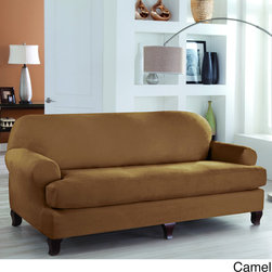 RESTONIC - Restonic Stretch Fit 2 Piece Sofa Slipcover - Update and protect your furniture with the Two Piece Sofa Box Stretch Slipcover by Restonic. Provides the look and feel of suede,with ultra-stretch micro suede fabric and supportive elastic provides a clean,sleek look.